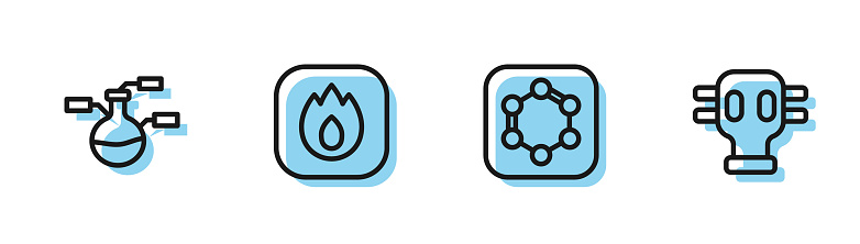 Set line Formula of benzene rings, Test tube and flask, Fire flame and Gas mask icon. Vector