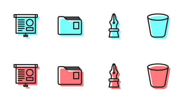 bildbanksillustrationer, clip art samt tecknat material och ikoner med ställ in linje fountain penna nib, chalkboard med diagram, dokument mapp och papperskorgen kan ikonen. vektor - stålpenna