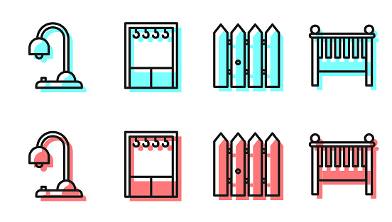 Set line Garden fence wooden, Table lamp, Wardrobe and Baby crib cradle bed icon. Vector