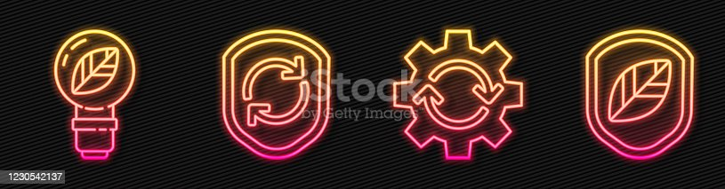 istock Set line Gear and arrows as workflow, Light bulb with leaf, Recycle symbol inside shield and Shield with leaf. Glowing neon icon. Vector 1230542137