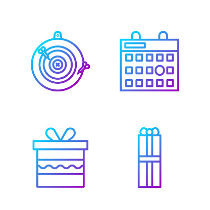 Set line Gift box, Gift box, Classic dart board and arrow and Birthday calendar. Gradient color icons. Vector