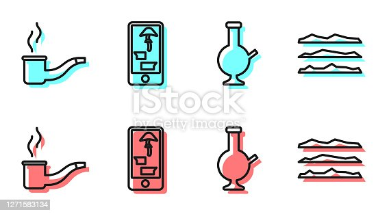 istock Set line Glass bong for smoking marijuana, Smoking pipe, Buying drugs online on phone and Cocaine or heroin drug icon. Vector 1271583134