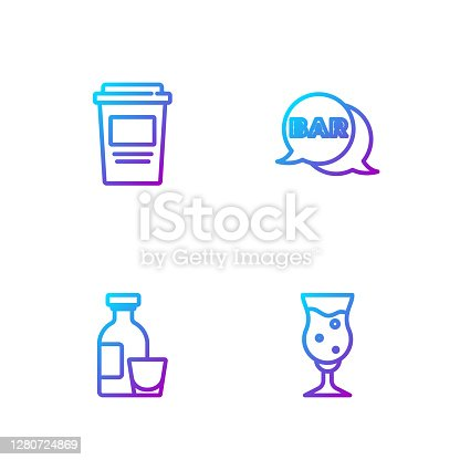 Set line Glass of beer, Alcohol drink Rum, Coffee cup to go and Street signboard with Bar. Gradient color icons. Vector.