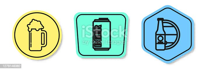 Set line Glass of beer, Beer can and Beer bottle and wooden barrel. Colored shapes. Vector