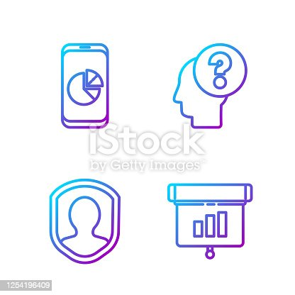 istock Set line Graph, chart, diagram, infographic, User protection, Mobile phone with graph chart and Human head with question mark. Gradient color icons. Vector 1254196409