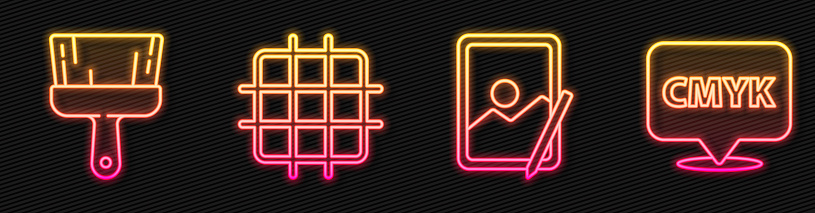 Set line Graphic tablet, Paint brush, Grid graph paper and Speech bubble with text CMYK. Glowing neon icon. Vector