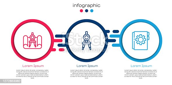 istock Set line Graphing paper and compass, Drawing and User manual. Business infographic template. Vector 1272853382