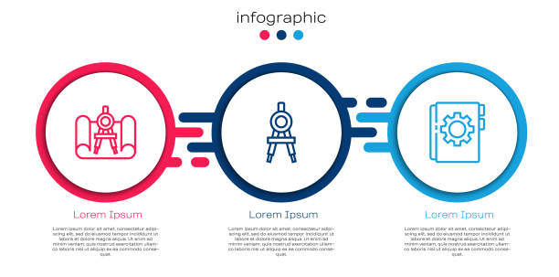Set line Graphing paper and compass, Drawing and User manual. Business infographic template. Vector Set line Graphing paper and compass, Drawing and User manual. Business infographic template. Vector. business clipart stock illustrations
