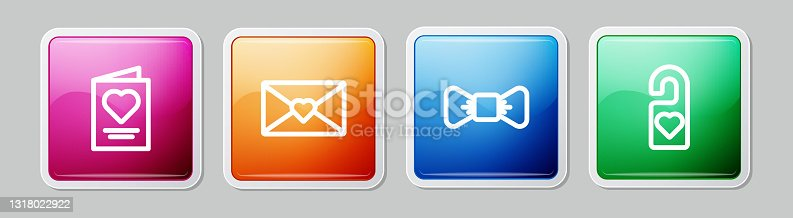 istock Set line Greeting card, Envelope with Valentine heart, Bow tie and Please do not disturb. Colorful square button. Vector 1318022922