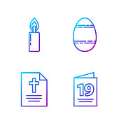 Set line Greeting card with Happy Easter, Greeting card with Happy Easter, Burning candle and Easter egg. Gradient color icons. Vector
