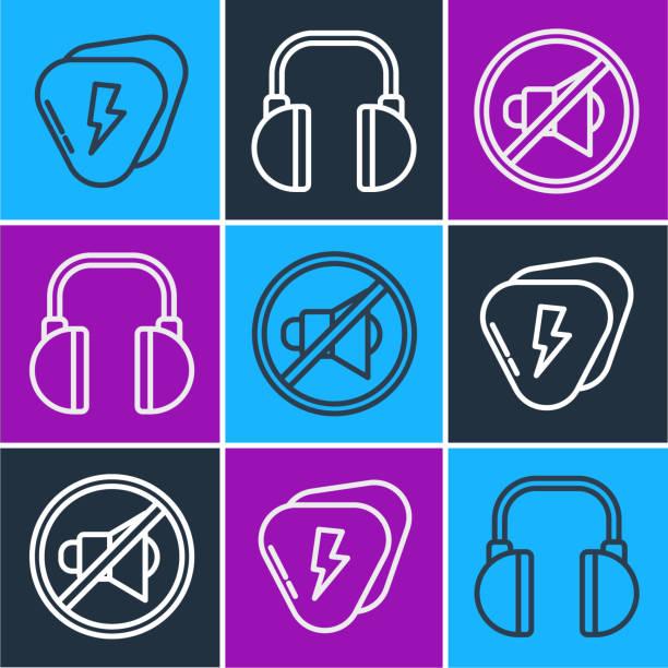 Set line Guitar pick, Speaker mute and Headphones icon. Vector Set line Guitar pick, Speaker mute and Headphones icon. Vector switchboard operator vintage stock illustrations