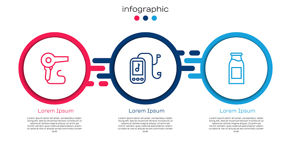Set line Hair dryer, Music player and Bottle with milk. Business infographic template. Vector