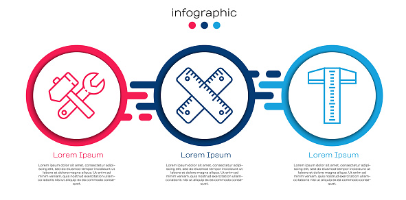 Set line Hammer and wrench spanner, Crossed ruler and T-square line. Business infographic template. Vector