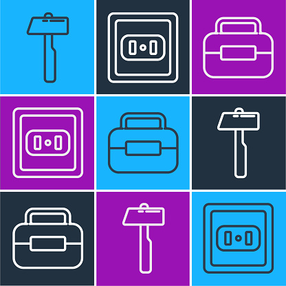 Set line Hammer, Toolbox and Electrical outlet icon. Vector