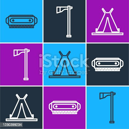 Set line Harmonica, Indian teepee or wigwam and Tomahawk axe icon. Vector