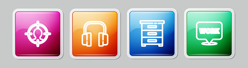 Set line Head hunting concept, Headphones, Drawer with documents and Location text work. Colorful square button. Vector