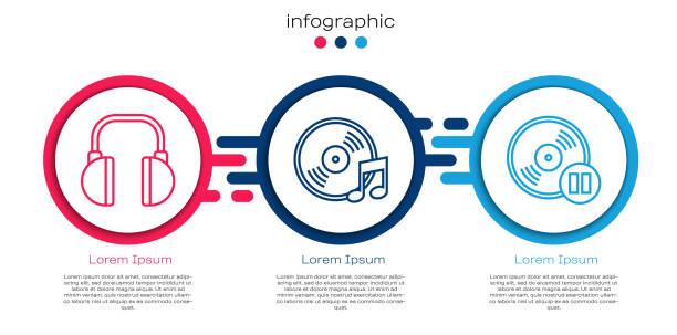 Set line Headphones, Vinyl disk and Vinyl disk. Business infographic template. Vector Set line Headphones, Vinyl disk and Vinyl disk. Business infographic template. Vector switchboard operator vintage stock illustrations
