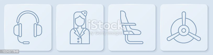 Set line Headphones with microphone, Airplane seat, Stewardess and Plane propeller. White square button. Vector