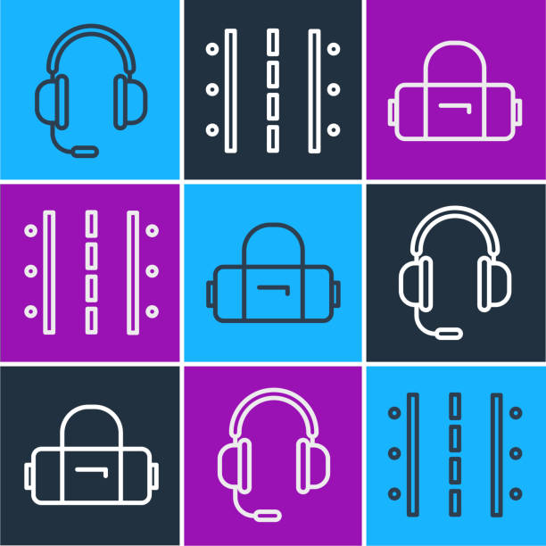 Set line Headphones with microphone, Suitcase and Airport runway icon. Vector Set line Headphones with microphone, Suitcase and Airport runway icon. Vector switchboard operator vintage stock illustrations