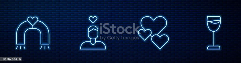 istock Set line Heart, Love magnet, Couple in love and Wine glass. Glowing neon icon on brick wall. Vector 1316787416