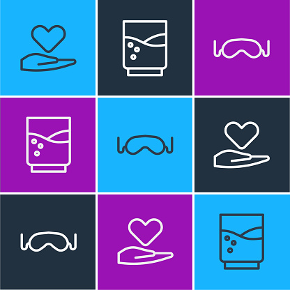 Set line Heart on hand, Eye sleep mask and Glass with water icon. Vector