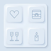 Set line Heart, Wedding rings, Glass of champagne and Burning candle. White square button. Vector.