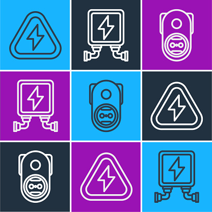 Set line High voltage, Electrical outlet and Electric transformer icon. Vector