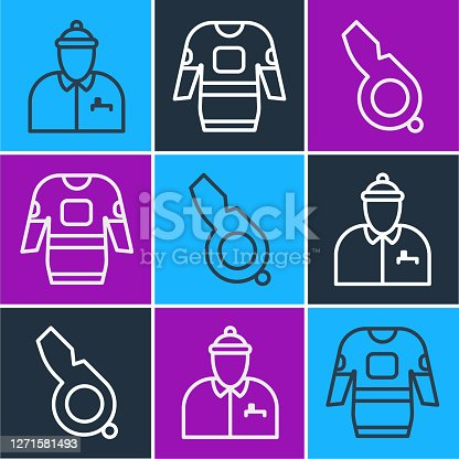 istock Set line Hockey coach, Whistle and Hockey jersey icon. Vector 1271581493