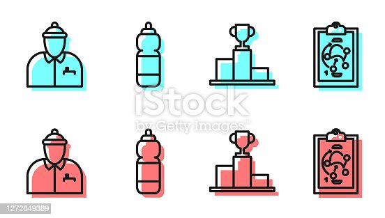 istock Set line Hockey over sports winner podium, Hockey coach, Fitness shaker and Planning strategy icon. Vector 1272849389