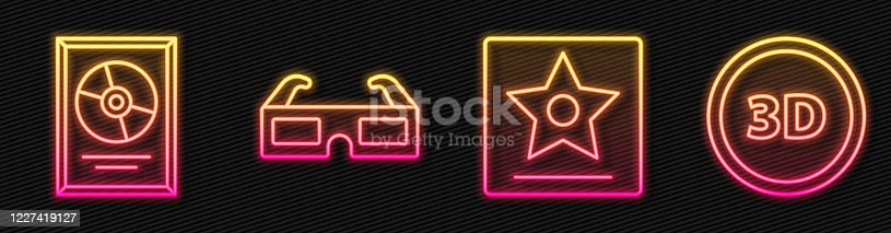 istock Set line Hollywood walk of fame star, CD disk award in frame, 3D cinema glasses and 3D word. Glowing neon icon. Vector 1227419127