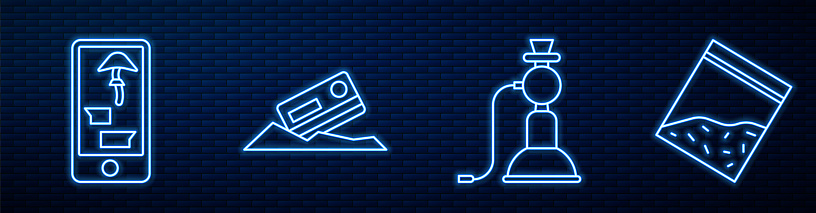 Set line Hookah, Buying drugs online on phone, Cocaine and credit card and Plastic bag of drug. Glowing neon icon on brick wall. Vector