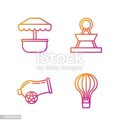 Set line Hot air balloon, Cannon, Attraction carousel and Attraction carousel. Gradient color icons. Vector