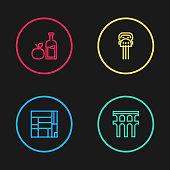 Set line House Edificio Mirador, Aqueduct of Segovia, Peineta and Apple cider bottle icon. Vector