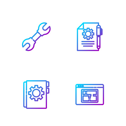 Set line House plan, User manual, Wrench spanner and Document settings and pen. Gradient color icons. Vector