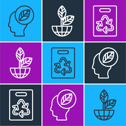 Set line Human head with leaf inside, Paper bag with recycle and Earth globe and plant icon. Vector