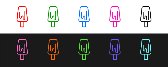 Set line Ice cream icon isolated on black and white background. Sweet symbol. Vector
