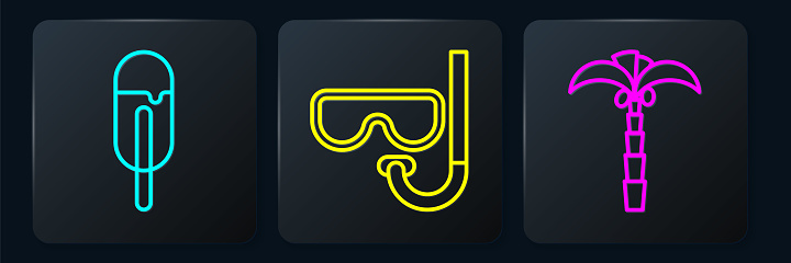 Set line Ice cream, Tropical palm tree and Diving mask and snorkel. Black square button. Vector