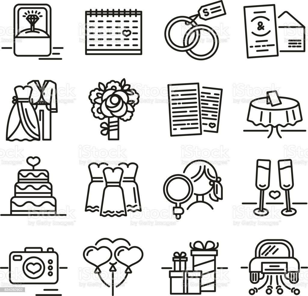 Set Line Icon For Wedding The Symbols Of The Groom The Bride The