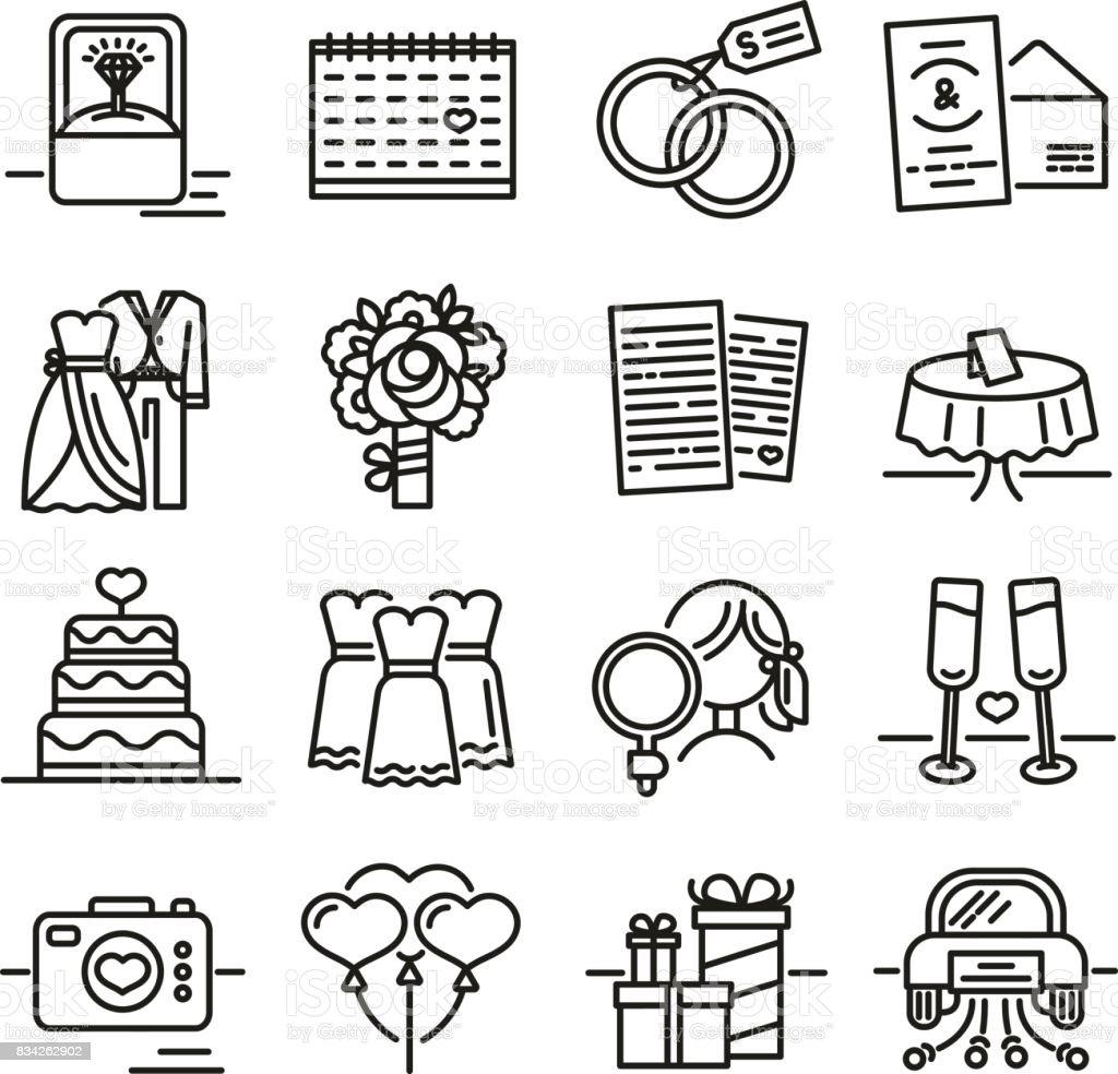 Establecer el icono de la línea para la boda. Los símbolos del novio, la novia, la invitación de la boda y el anillo. Recogida de firmas para los recién casados. Vector de - ilustración de arte vectorial