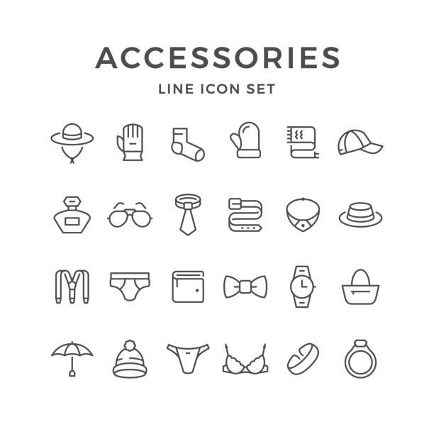 illustrations, cliparts, dessins animés et icônes de icônes de la ligne set d'accessoires - homme slip