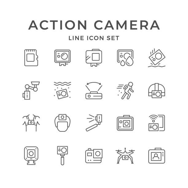 stockillustraties, clipart, cartoons en iconen met lijn pictogrammen van actie camera instellen - gopro