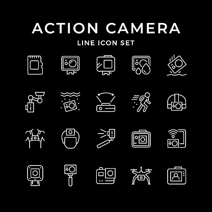 Set line icons of action camera