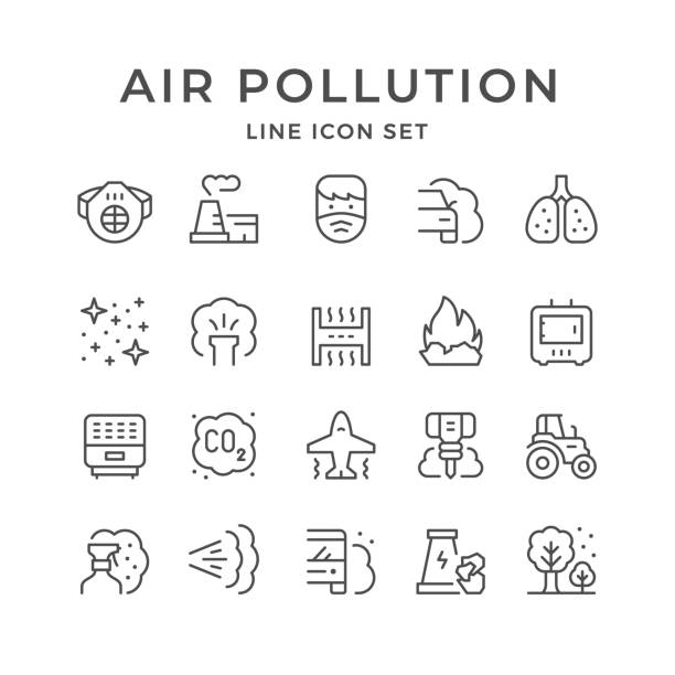 ilustraciones, imágenes clip art, dibujos animados e iconos de stock de establecer iconos de línea de la contaminación del aire - contaminación ambiental