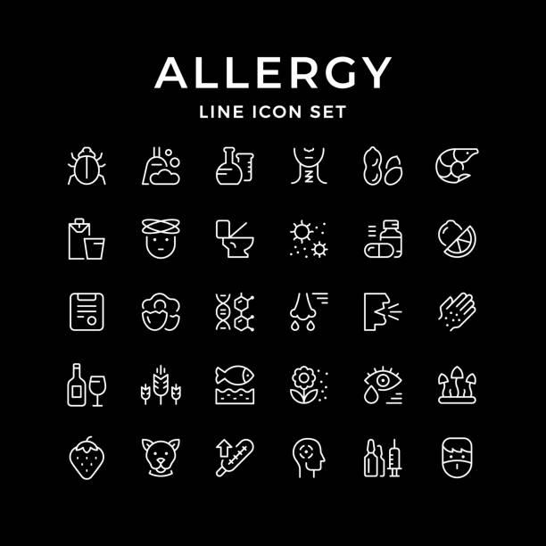 Set line icons of allergy Set line icons of allergy isolated on black. Vector illustration pollen stock illustrations