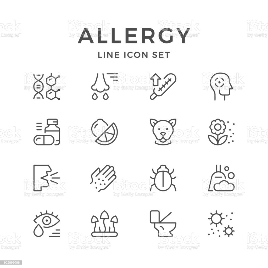Set line icons of allergy vector art illustration