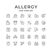 Set line icons of allergy isolated on white. Vector illustration