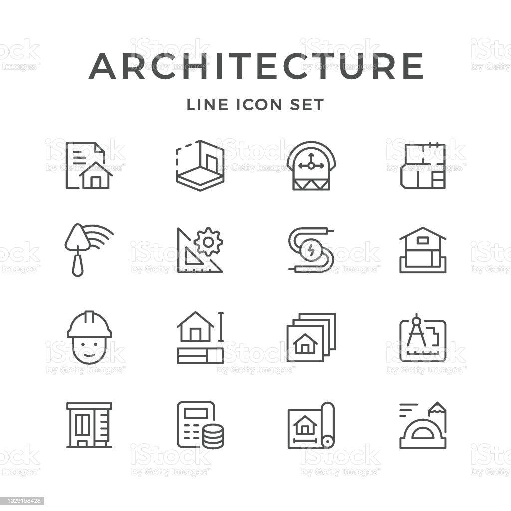 Línea Set iconos de la arquitectura ilustración de línea set iconos de la arquitectura y más vectores libres de derechos de arquitecto libre de derechos