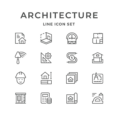Set line icons of architectural clipart