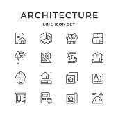Set line icons of architectural isolated on white. Vector illustration