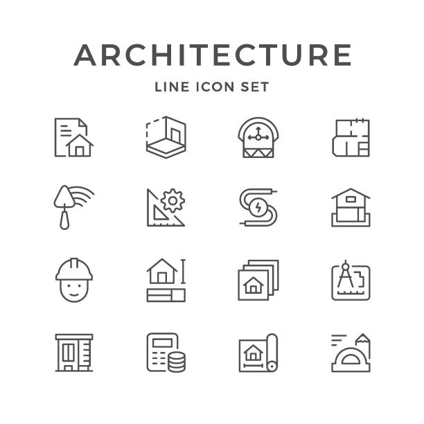 Set line icons of architectural Set line icons of architectural isolated on white. Vector illustration budget symbols stock illustrations